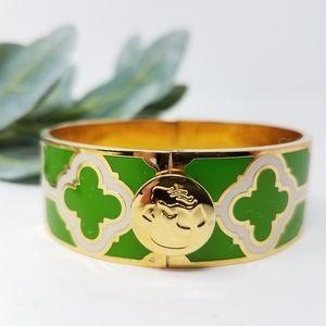 SPARTINA 449 Enamel Gold | Green Hinge Bracelet